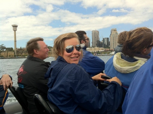 On a speedboat in Sydney!