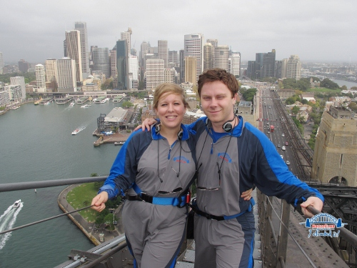 Reaching the summit of Sydney's Harbour Bridge!