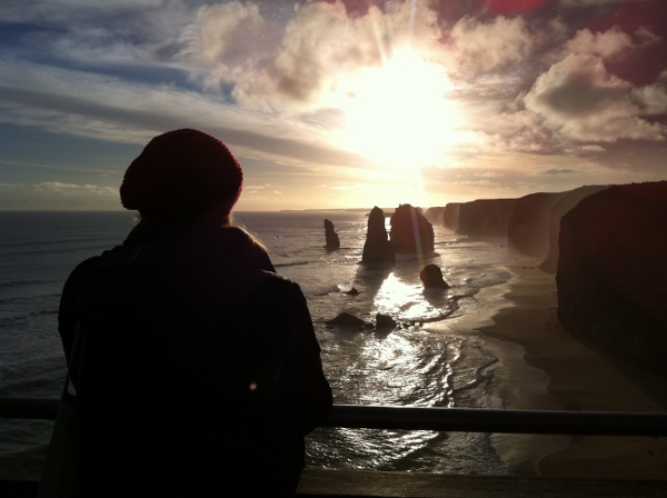Watching the sun set over the Twelve Apostles