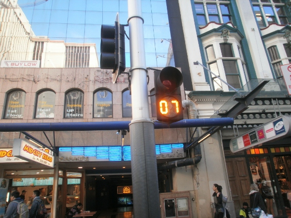 Crossing the road in Auckland; pedestrian timers in the city