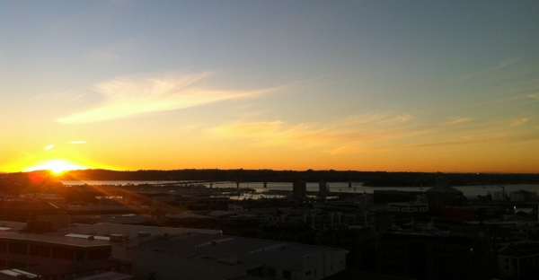 sunset over Auckland harbour bridge