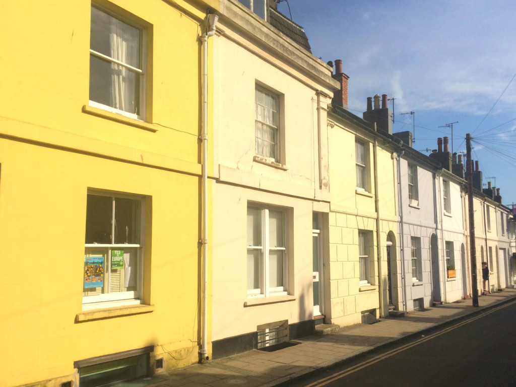 pastel houses in Brighton