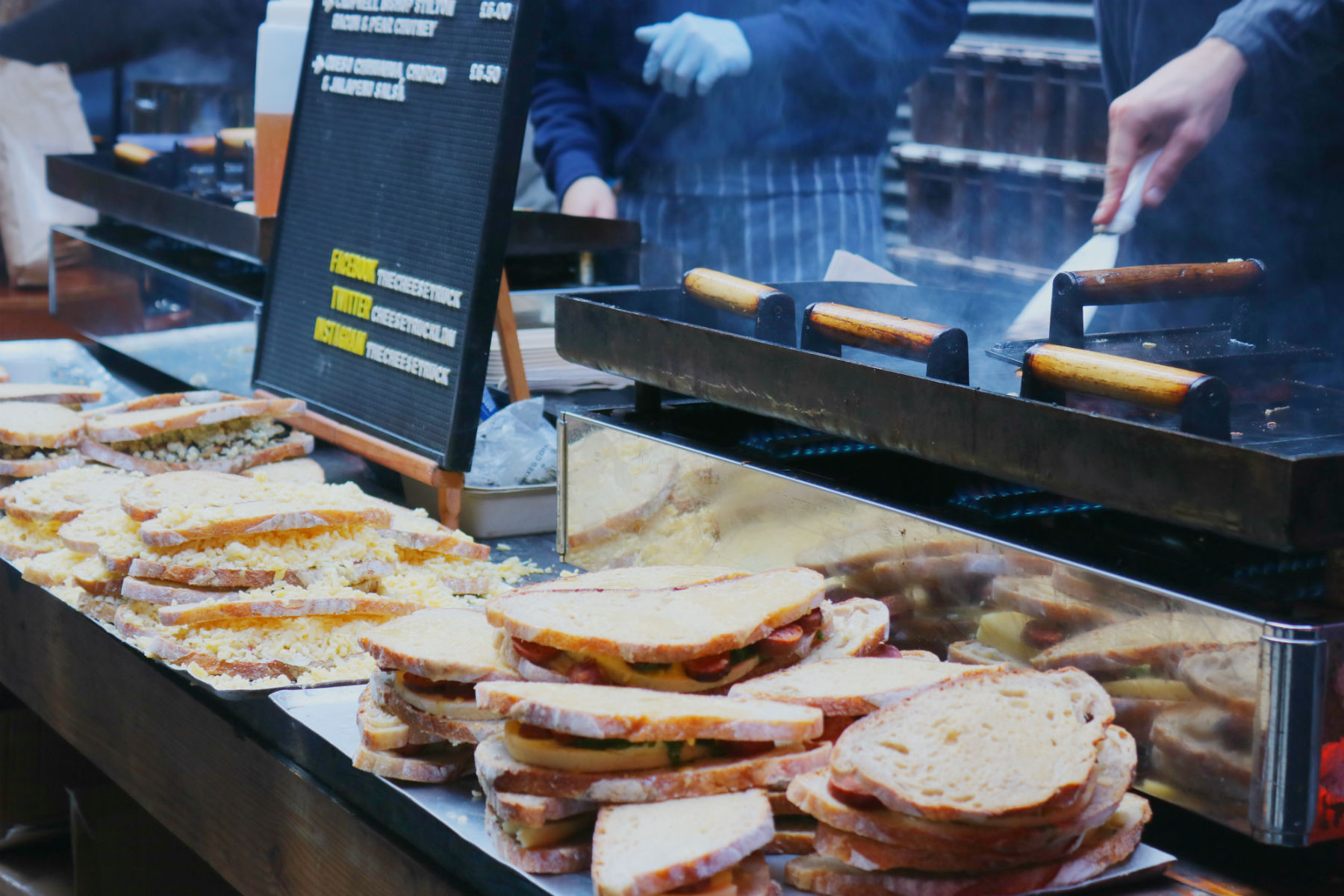 Grilled cheese sandwiches, Maltby Street Market