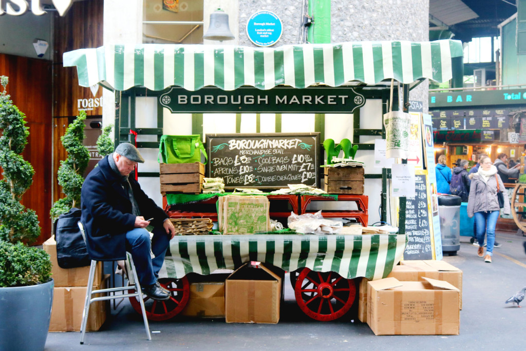 Merchandise stand at Borough Market, London