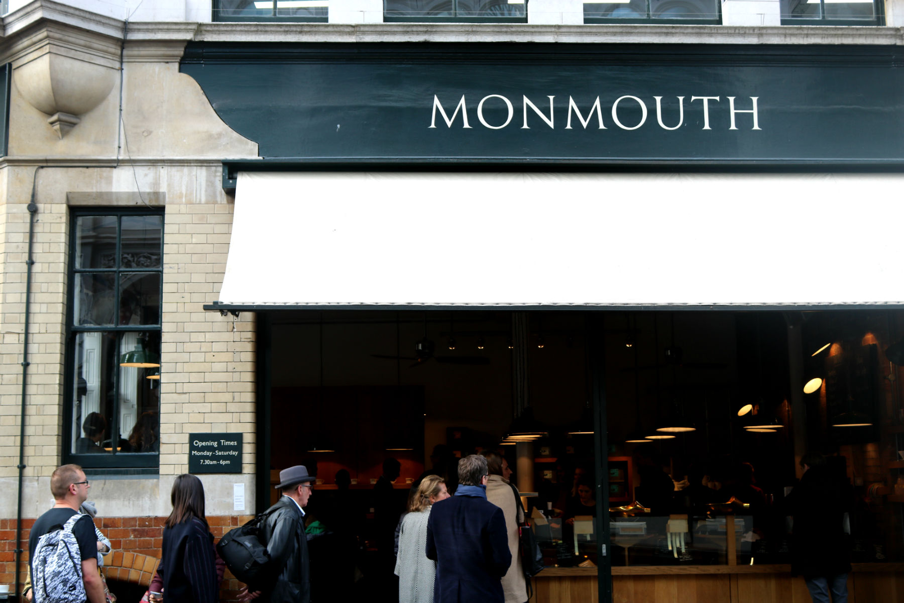 Storefront of Monmouth Coffee shop, Borough Market, London