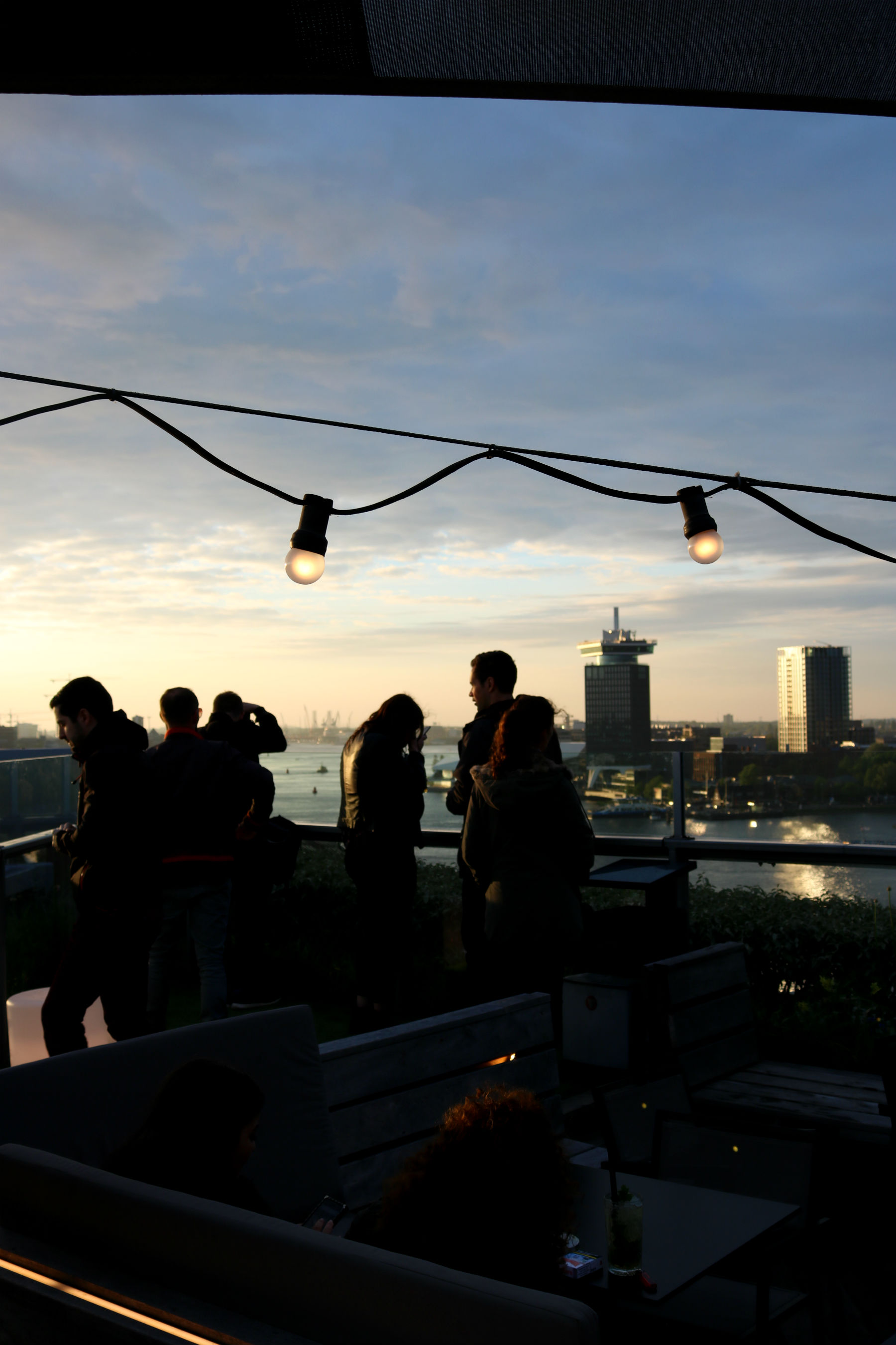 Group of people at Amsterdam SkyLounge rooftop bar